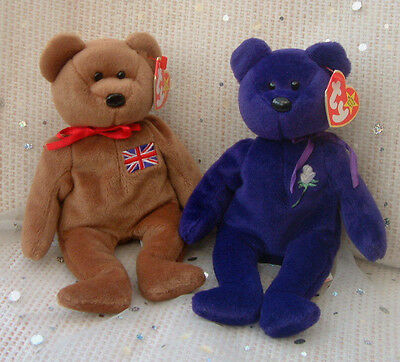 Retired 90s Ty Beanie Baby Babies - Britannia & Princess (Indonesia) With Tags • 9.99£