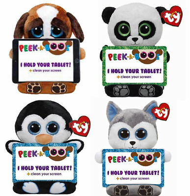 Ty Peek A Boo Tablet Holder Buddy Plush  With Screen Wipe - 6 To Choose From • 19.75£