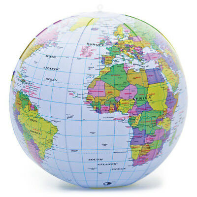 40CM Inflatable Globe Map Ball World Earth Geography Blow Up Atlas Education Toy • 2.19£