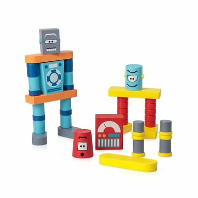 Childrens Traditional Wooden Robot Building Blocks Creative Stackable Figures • 17.09£