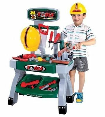 Childrens Boys Toy Work Bench With 45+ Tools Hard Hat Role Play Builders Set 881 • 21.95£