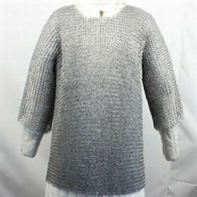 LARP Reenactment Galvinized Steel Butted Chain Mail 3/4 Length Sleeves UK STOCK • 59.99£