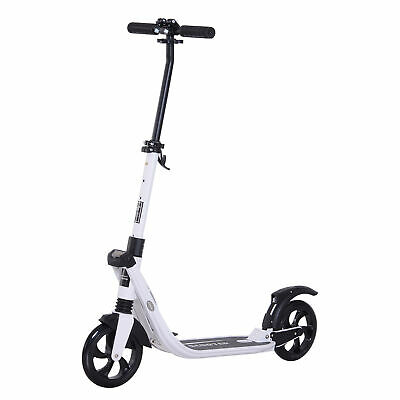 HOMCOM Folding Kick Scooter Teens Adult Ride On Adjustable 2 Big Wheels White • 80.99£