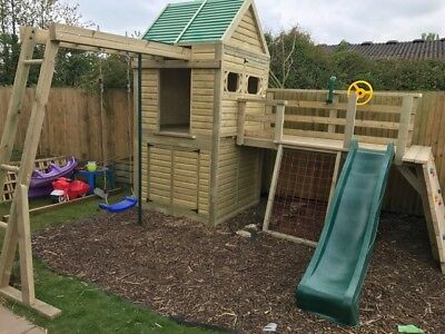 Heavy Duty Children's Climbing Frame 1 Tower Delux *NO Self Assembly Required* • 1,090£