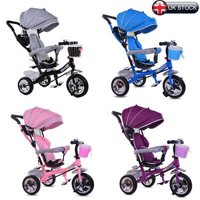 New Baby Kids Ride On Trikes Tricycle 4 In 1 Bike 3 Wheels Canopy & Push Handle • 69.99£