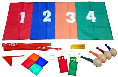 School Sports Day Games Set Egg & Spoon, 3 Legged & Sack Race Childrens Outdoor • 13.95£