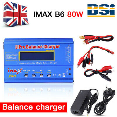 UK FAST IMAX B6 80W AC Lipo NiMH Polymer RC LCD Digital Battery Balance Charger • 25.98£