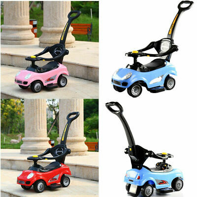 Kids Children 3in1 Musical Ride On Car Walker Push Along Toy With Parent Handle • 34.99£