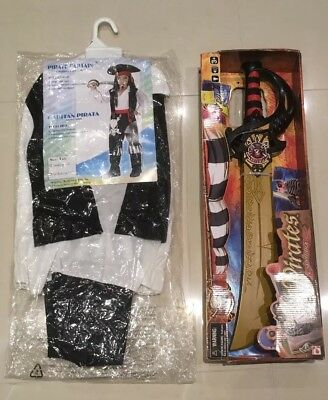 Pirate Cutlass Sword, Light Up With Sounds &  Pirate Captain Fancy Dress Costume • 9.99£