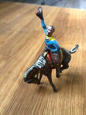 CRESCENT VINTAGE 1950s WILD WEST 2 PC LEAD RODEO COWBOY ON BUCKING BRONCO HORSE • 25£