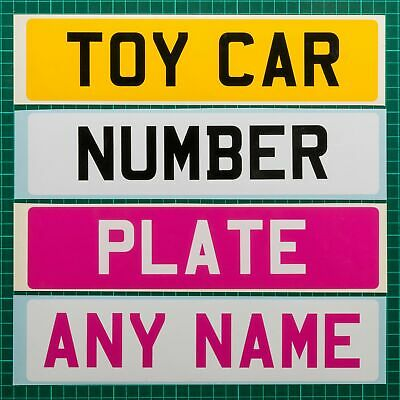 2 X Personalised Vinyl Kids / Childrens Toy Car Number Plate With Name/Reg • 3.89£