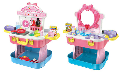 Childrens Girls Role Play Kitchen & Dressing Table Beauty Case 54 Piece Set 4080 • 7.99£