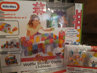 Little Tikes Waffle Blocks Castle Playset & A Set Of Buddies Figures - New • 26.99£