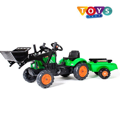 Kids Ride On Farm Tractor Digger Front Loader And Trailer Outdoor Peddle Powered • 79.54£