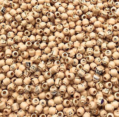 Lego Lot Of 100 New Flesh Colored Minifigure Minifig Heads Star Wars More • 52.81£