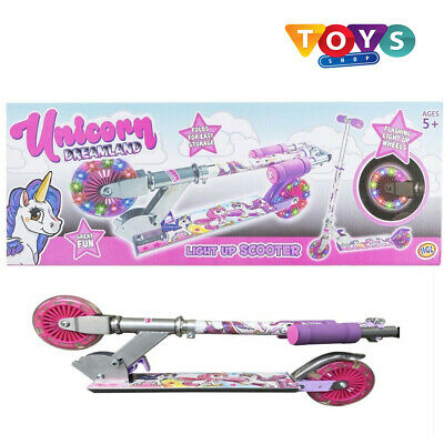 Unicorn Light Up Scooter Inline Foldable LED Wheel Junior Girls Ride Dreamland  • 27.99£