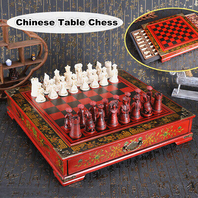 32pcs Large Wooden Antique Chinese Warriors Chess Set Chess Board Chess Gifts UK • 24.71£