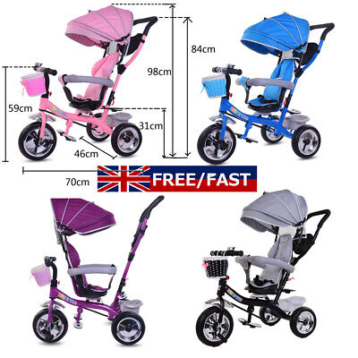 4 In1 Baby Children Trike Tricycle Stroller Buggy 3 Wheel Ride Push UK STOCK • 69.99£