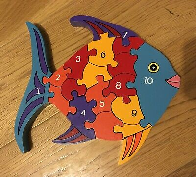 Wooden Fish Puzzle With Numbers • 3£