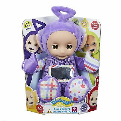 Teletubbies Tinky Winky Sensory Soft Toy With Plastic Wipe Clean Face - NEW • 17.99£
