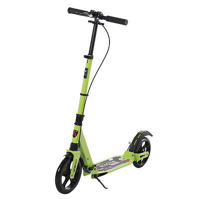 HOMCOM Teens Adult Scooter Foldable W/Light Shock Mitigation - Green • 72.99£