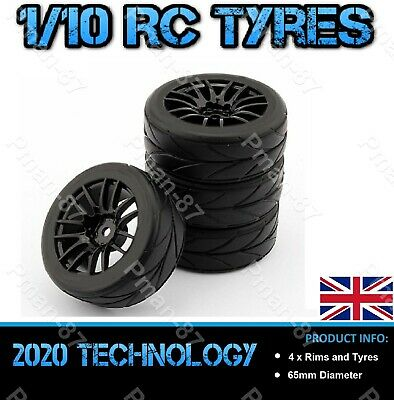 BRAND NEW 1/10 On Road Soft Tread Nitro Car RC Wheel And Tire Tyre X 4 65mm • 16.99£