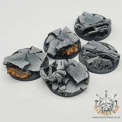 5 Pack 40mm Resin Urban Rubble Bases, 40k Horus Heresy  Space Marines Chaos.  • 8£