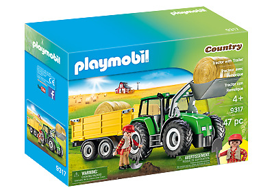 Playmobil 9317 Tractor With Trailer (Farms & Animals, Playsets) Age 3+ • 24.99£