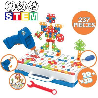 DeAO 237 Pc Drill DIY Puzzle Toy Set For Kids With Electric Drill Screwdriver • 20.99£