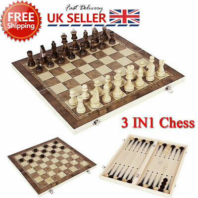 3in1 FOLDING WOODEN CHESS SET Board Game Checkers Backgammon Draughts Gift • 9.99£
