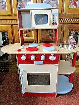 Wooden Red  Toy Kitchen, Microwave, Oven, Sink Pick Up South Wales • 25£
