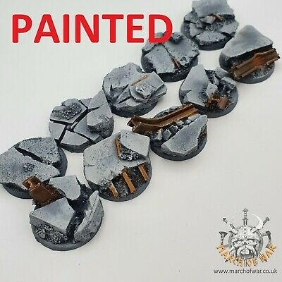32mm Painted Resin Urban Rubble Bases, 40k Horus Heresy  Space Marines Choas.  • 18£