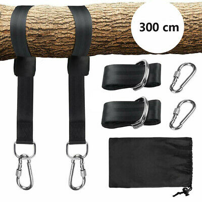 Swing Hammock Tree Hanging Kit Strap Hooks Carabiner Garden Swing FittingS 300KG • 10.99£