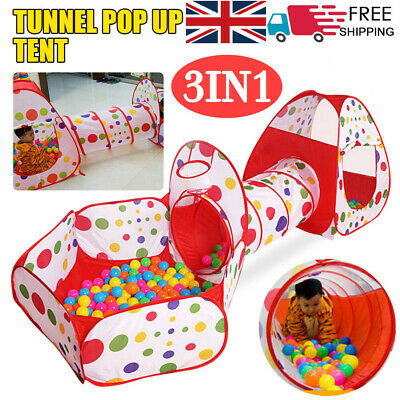 3 In 1 Kids Play Tent Toddler Tunnel Balls Pit Pop Up Cubby Playhouse UK • 18.99£