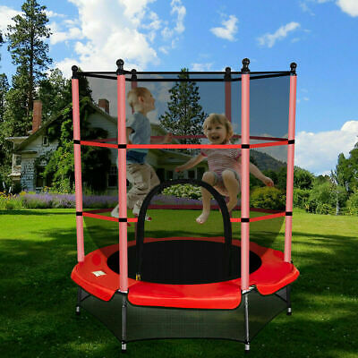 4.5FT 55  Junior Trampoline With Safety Net Enclosure Kids Child Outdoor Toy Red • 51.93£
