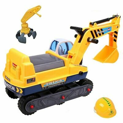 2:1 Digger & Excavator Ride On & Builders Hard Hat Childrens Role Play Toy 178 • 27.95£