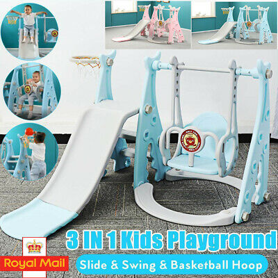 4 In 1 Baby Kids Toddler Climber Slide Play Swing Set Indoor/Outdoor Playground • 62.64£