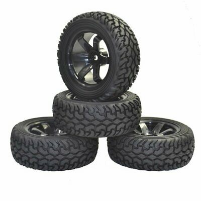 1/10 1/16 Rally Car Grain Rubber Tires Wheels For Traxxas Tamiya Hsp Hpi Kyosho • 10.99£