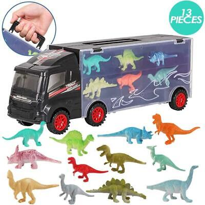 DeAO 12 Pieces Dinosaur Transporter Truck Carrycase For Cars Play Set Carrier • 11.99£