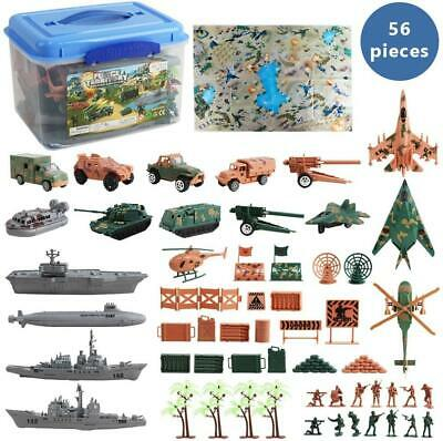 DeAO 56 Pieces Military Army Play Set With Map, Toy Soldiers, Military Vehicles • 19.99£