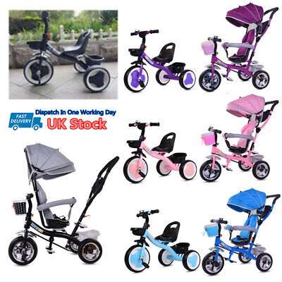 Baby Kids Ride On Trike Tricycle Toddler 3 Wheels Bike With/without Canopy&Push • 69.99£
