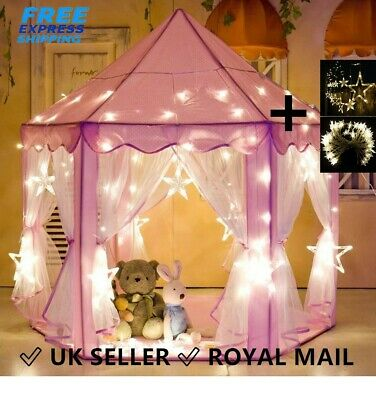 Princess Pop Up Castle Play Tent Girls Playhouse Toy House Kids Fun With Light • 34.99£