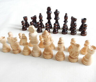 NEW Chess Pieces Set Of 32 Hand Carved Wooden - King Size 3  (76.5mm) • 4.99£
