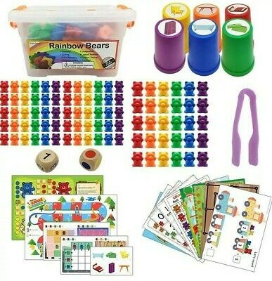 90 Pcs Counting Bears Sorting Bears Sorting Math Skill With Rainbow Cups • 17.99£