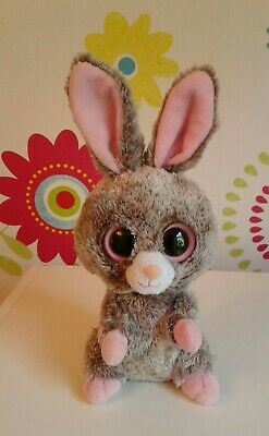 Rare Ty Beanie Boo Boos Bunny WOODY Brown Pink Rabbit Soft Toy • 9.99£