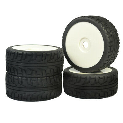 4PCS RC 1/8 On Road Car Buggy Rubber Tires Plastic Wheel Rims Tyres For HUB 17mm • 15.99£