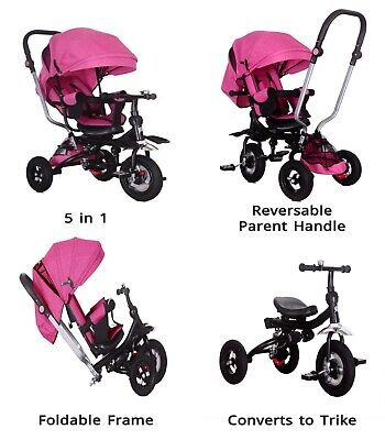 Little Bambino 5 IN 1 Tricycle Stroller Kids Children Baby Toddlers Trike - Pink • 79.99£