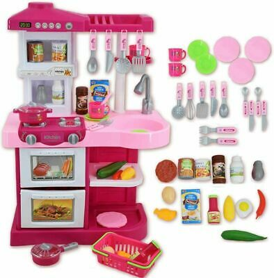Kids Play Kitchen Children's Kitchen Cooking Toy Cooker Play Set Sounds UK  • 29.99£
