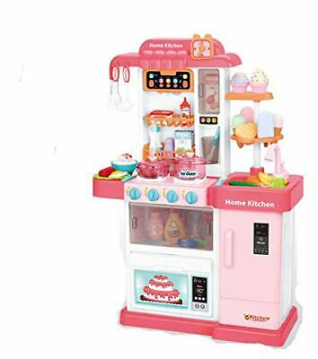 Kids Play Kitchen Children's Kitchen Cooking Toy Cooker Play Set Sounds UK Pink • 29.99£