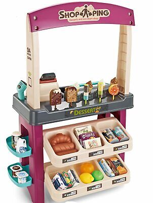 Kids Pretend Sweet Cart Supermarket Play Set Sounds Scanner Debit Machine Lights • 32.99£